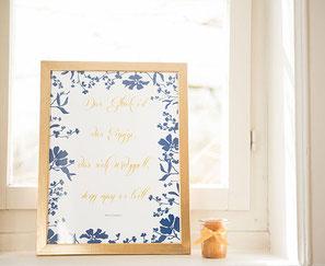Efi, Hochzeit, gold, blau, Papeterie