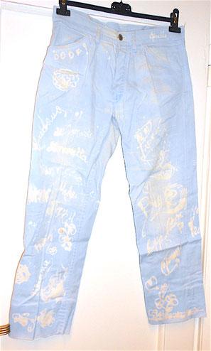I NOMADI - jeans completamente autografati e decorati dalla band negli anni 60