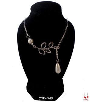 Collier argenté symboles branche et perle nacrée pendante