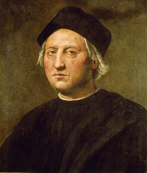Christophe Colomb né en 1451 à Calvi (Corse), territoire de la république de Gênes, et mort en 1506 à Valladolid, en Espagne, est un navigateur au service des monarques catholiques espagnols Isabelle de Castille et Ferdinand d'Aragon.