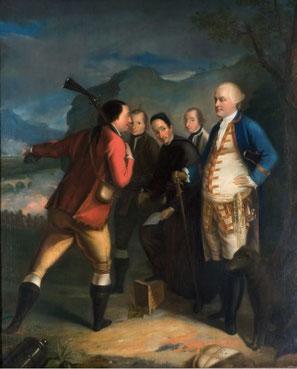 PAOLI est à droite et écoute les renseignements fournis par un homme armé qui montre le pont où se déroule la bataille du 8 mai 1769 contre les Français. Circinellu est le personnage du trio qui est placé le plus à droite, entre Guelfucci et Paoli