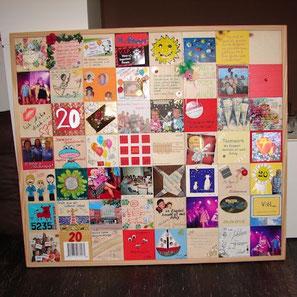 jubileums-mosaik... 56 kleine 10x10cm holz-plättchen, die ganz individuell von 56 verschieden leuten gestaltet & zu einem ganz persönlichen mosaik zusammengetzt wurden... ein einzigartiges geschenk...