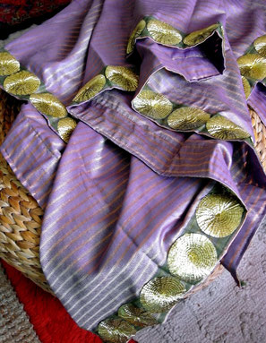 Gold-striped, lavender, Indian-handloom, cotton & mulberry-silk throw with olive-green & gold, net-jari border