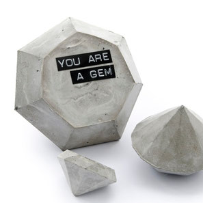 Set of 3 Concrete Diamonds 'You are a gem' by PASiNGA