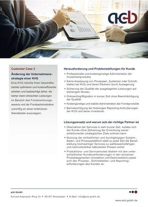 acb GmbH Customer Case: Änderung der Unternehmensstrategie einer KVG