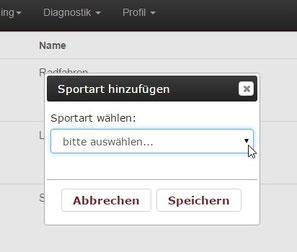 Screenshot: Komfortable Dropdown-Listen erleichtern die Trainingsplanung