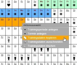 Screenshot: Trainingseinheiten einfach kopieren und einsetzen
