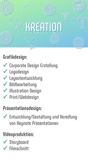 Vom Corporate Design bis zur Keynote Präsentation, helfe ich Ihnen bei der Kreation Ihrer Werbemittel