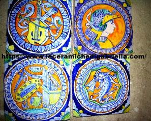 mattonelle antiche san sebastiano dipinte a mano ceramica antica ceramic italian PANEL IM ALTEN MAIOLICA REPRODUKTION Kirche San Sebastiano Venedig Italien