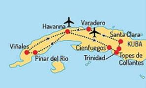 Bus-Rundreise mit Baden am Traumstrand Cayo Santa Maria Stadtrundfahrt in Havanna 3 Nächte ,Vinales Tal & Bootsfahrt Linienflug ab München nach/von Havanna  - Code HAV05AA