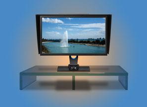 Monitor-Unterbau, Glas kleben, TV-Untersatz