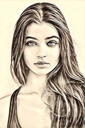 Drawing, Pencil, Portrait, Girl, Woman, Feminal
