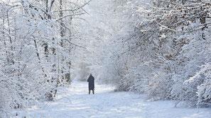 Winterspaziergang, Frau im Schnee, flowflyphoto
