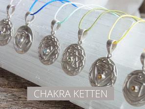 Kette mit Kronenchakra Symbolanhänger aus Silber