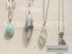 Diverse Silberketten mit Edelsteinanhängern