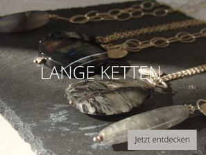 lange Gliederkette aus Silber mit großem grau schwarzem turmalinquarz Anhänger