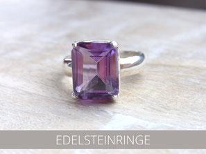 Ring aus Silber mit geschliffenem großen Rosenquarz