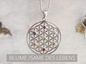 Kette mit Blume des Lebens Anhänger aus Silber mit 7 Edelsteinen
