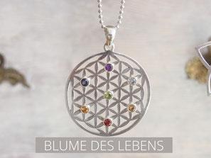 Kette mit Blume des Lebens Anhänger aus Silber