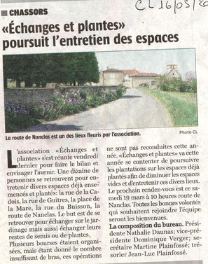 Article Charente Libre du 16/05/2016