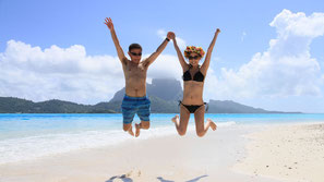 With the view of Mt. Otemanu, we offer unforgettable day on motu (islet)  with white sand beach of Bora Bora.