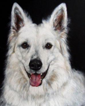 Hundebild eines weißen Schäferhundes auf schwarzem Untergrund gemalt