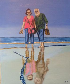 560 - Li u. Lu à la plage-Houlgate, pieds nus, 2016