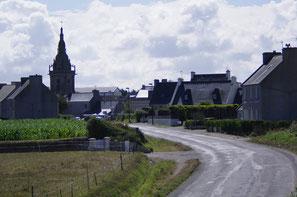 Le village de Lampaul-Ploudalmézeau vu depuis la maison au 19 route de la plage