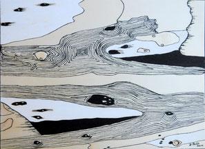 Au bord de l'eau  n°6 , encre de Chine sur bois