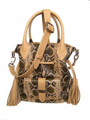 sac besace en cuir serpent avec pompon et bandoulière, sac fait-main haut de gamme