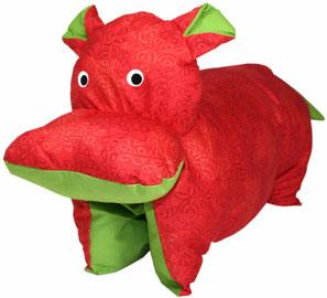Tierkissen Nilpferd rot-grün