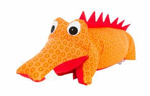 Tierkissen Krokodil Drache orange-rot