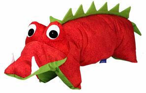 Tierkissen Krokodil Drache rot-grün