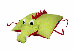 Tierkissen Krokodil Drache grün-blau