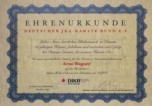 Arno Wagner Ehrenurkunde | DJKB | 40 Jahre