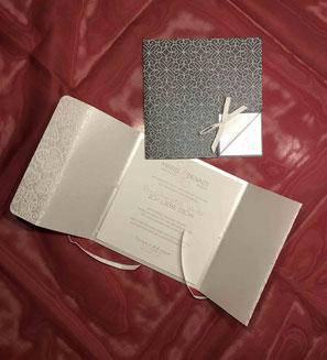 Hochzeitskarte mit Altarfalz und Fadenbindung
