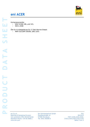 Bild: Produktdatenblatt eni / agip acer 10-320 Umlauföl Datenblatt seite3