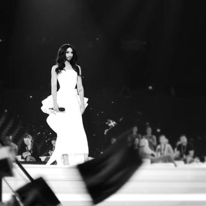Conchita Wurst wearing JCHOERL at the Eurovision Song Contest Semifinal in Vienna