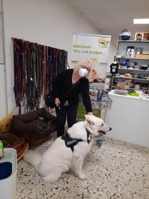 Futterspendenübergabe mit weißem Schäferhund