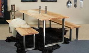 Holztisch Miete Holzmöbel Kufentisch Mietmöbel Holz Baumkante Kernesche massiv geölt rustikal