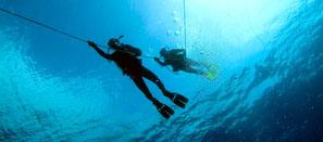 Plongeur descendant à la ligne