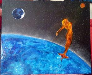 Voyage astrale/ encre et pastels secs