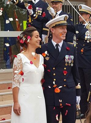 Robe de mariée sur mesure dentelle et crêpe