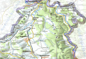 Karte mit Geländestrukturen