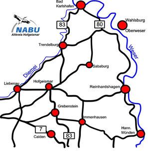Karte mit Städten, Flussverlauf, Bundes- und Landesstraßen