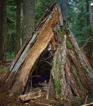 Der Bau einer Unterkunft aus Naturmaterialien
