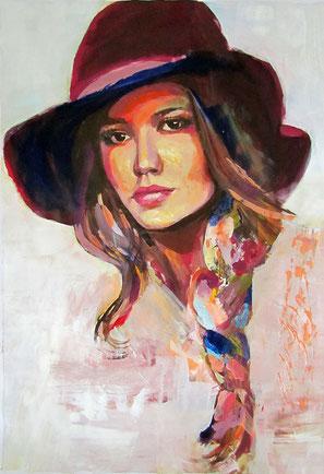 """Original Gemälde Frauenportrait """"Henriette"""" 42 x 59 cm"""
