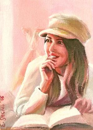"Women painting ""Clarissa"" 13 x 18 cm (5,1 x 7 inches)"