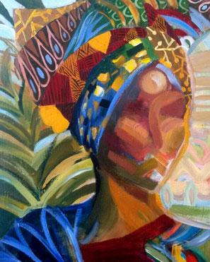 """Original Gemälde Frauenportrait """"Kenia I"""" 60 x 80 cm"""