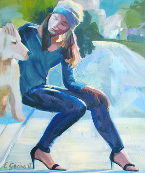 """Women painting """"Adrienne"""" 60 x 70 cm (23,6 x 27,5 inches)"""